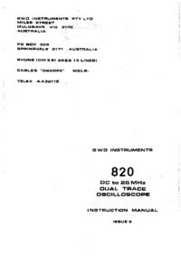 Обслуживание и Руководство пользователя BWD 820