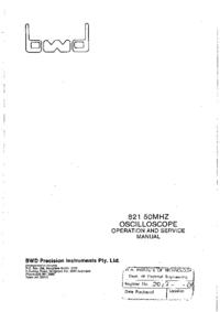 Servizio e manuale utente BWD 821