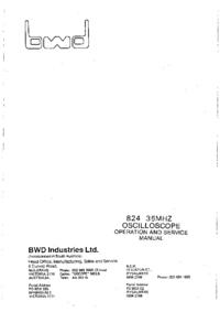 Serviço e Manual do Usuário BWD 824