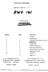 Service- und Bedienungsanleitung BWD 141