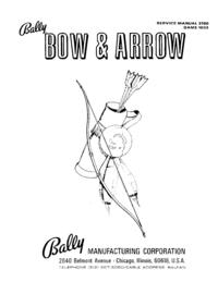 Руководство по техническому обслуживанию Bally Bow and Arrow 1033