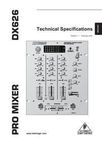 Технический паспорт Behringer DX626