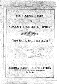 Servicio y Manual del usuario Bendix RA-1B