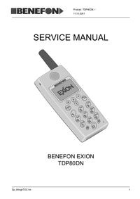 Manual de serviço Benefon Exion TDP80DN