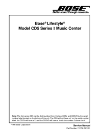 Instrukcja serwisowa Bose Model CD5 Series I Music Center