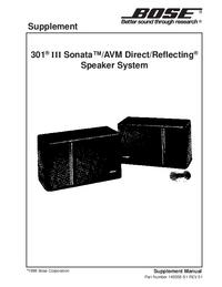 Manuale di servizio Supplemento Bose 301 III Sonata