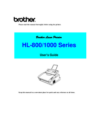 User Manual Brother HL-1000 Series