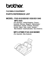 Part List Brother Fax-910