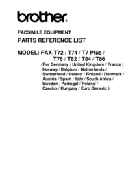 Part List Brother FAX-T86