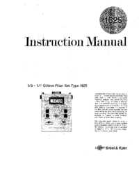 User Manual BruelKJAER 1625
