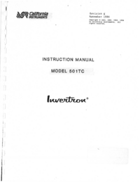 Service and User Manual CaliforniaInstruments 501TC
