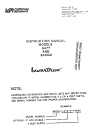 Service and User Manual CaliforniaInstruments 846VM