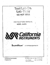 Обслуживание и Руководство пользователя CaliforniaInstruments 849TA