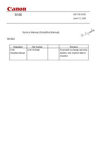 Manual de servicio Canon S100
