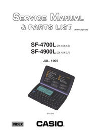 Service Manual, Liste partie seulement Casio SF-4900L (ZX-454 E,F)