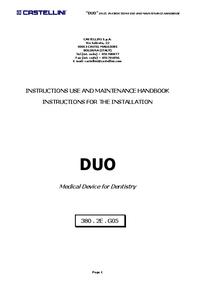 Servicio y Manual del usuario Castellini DUO