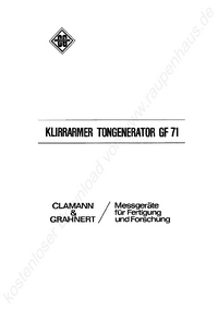 Service and User Manual ClamannGrahnert GF 71