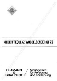 Service and User Manual ClamannGrahnert GF 72
