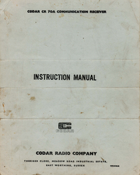 Servicio y Manual del usuario Codar CR 70A