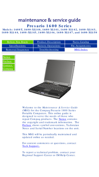 Service Manual Compaq Presario 1600-XL150