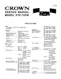 Service Manual Crown STP-70SW