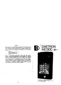 Manuale d'uso Daetron MC300