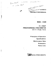 Service and User Manual Dataprecision 3400R