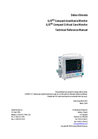 Manual de serviço DatexOhmeda S/5 Compact Critical Care Monitor