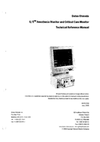 Service Manual DatexOhmeda S/5 Critical Care Monitor
