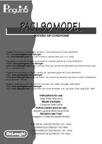 Instrukcja obsługi Delonghi PACL90