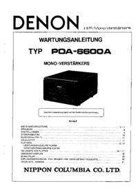 Service Manual Denon POA-6600A