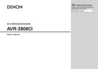 User Manual Denon AVR-3808CI