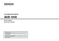 User Manual Denon AVR-1910