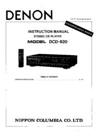 Bedienungsanleitung Denon DCD-820