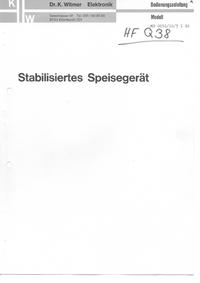 Service- und Bedienungsanleitung DrKWitmerElectronic MB 0030/20/3
