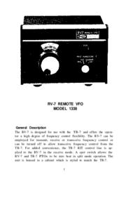Обслуживание и Руководство пользователя Drake RV-7 MODEL 1338