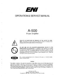 Обслуживание и Руководство пользователя ENI A-500