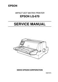 Руководство по техническому обслуживанию Epson EPSON LQ-670