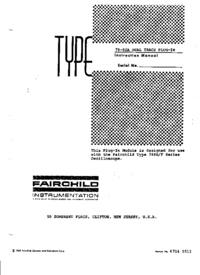Service and User Manual Fairchild 79-02A