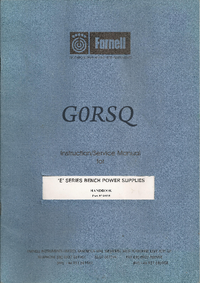 Service Manual Farnell GORSQ E SERIES