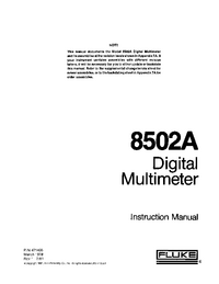 Servicio y Manual del usuario Fluke 8502A