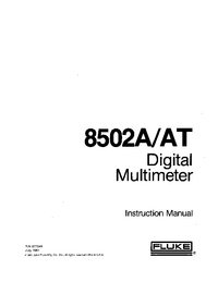 Service and User Manual Supplement Fluke 8502AT