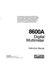manuel de réparation Fluke 8600A