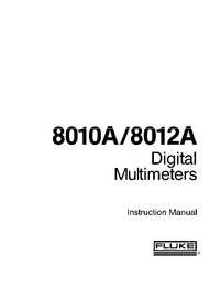 Servicio y Manual del usuario Fluke 8012 A