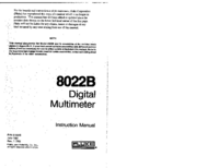 Service and User Manual Fluke 8022B