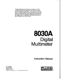 Service and User Manual Fluke 8030A