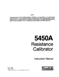 Serwis i User Manual Fluke 5450A