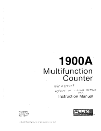 Service and User Manual Fluke 1900A
