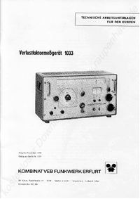 Service and User Manual Funkwerk 1033