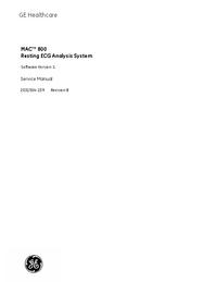 Руководство по техническому обслуживанию GEHealthcare MAC 800